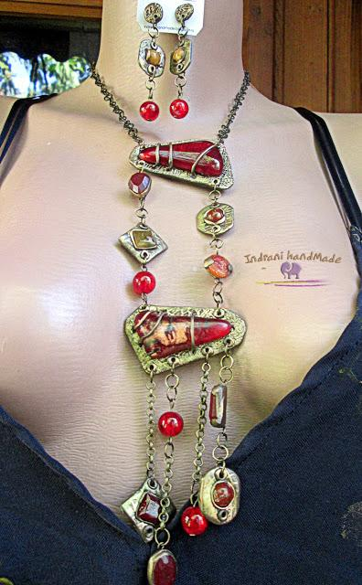 "Indrani Handmade: Colier lung cu pietre rosii ""Hot Couture"""